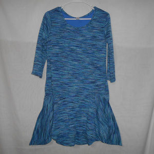 5/$20 Justice Girls Long Slv Blue Tunic Dress 18